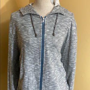 Free People Grey Hooded Sweatshirt Large